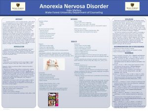 Anorexia Nervosa Disorder Kate Mallory Wake Forest University
