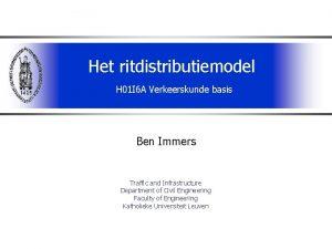 Het ritdistributiemodel H 01 I 6 A Verkeerskunde