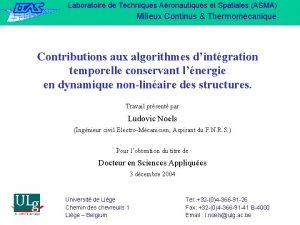 Laboratoire de Techniques Aronautiques et Spatiales ASMA Milieux