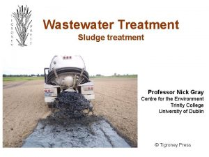 Wastewater Treatment Sludge treatment Professor Nick Gray Centre