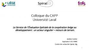 Colloque du CAPP Universit Laval Le Service de