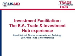 Investment Facilitation The E A Trade Investment Hub