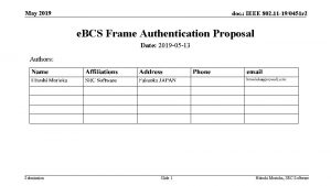 May 2019 doc IEEE 802 11 190451 r