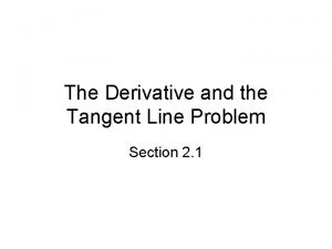 The Derivative and the Tangent Line Problem Section