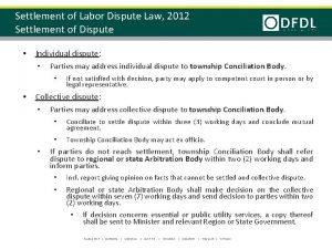 Settlement of Labor Dispute Law 2012 Settlement of