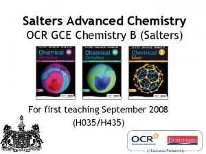 Salters Advanced Chemistry OCR GCE Chemistry B Salters