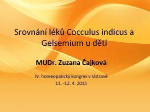 Srovnn lk Cocculus indicus a Gelsemium u dt