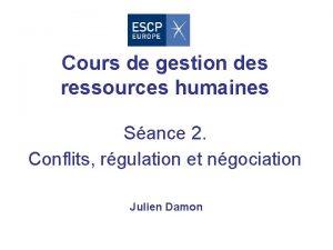 Cours de gestion des ressources humaines Sance 2
