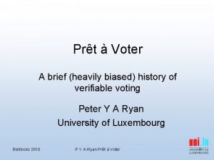 Prt Voter A brief heavily biased history of