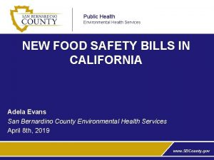 Public Health Environmental Health Services NEW FOOD SAFETY