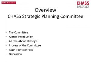 Overview CHASS Strategic Planning Committee The Committee A