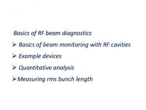 Basics of RF beam diagnostics Basics of beam