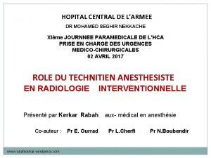 HOPITAL CENTRAL DE LARMEE DR MOHAMED SEGHIR NEKKACHE
