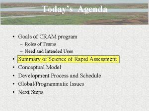 Todays Agenda Goals of CRAM program Roles of