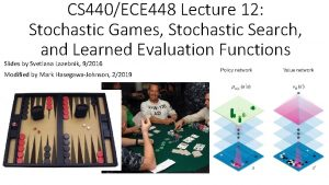CS 440ECE 448 Lecture 12 Stochastic Games Stochastic