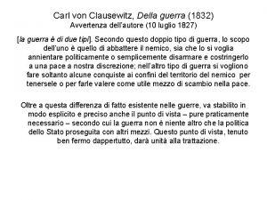 Carl von Clausewitz Della guerra 1832 Avvertenza dellautore