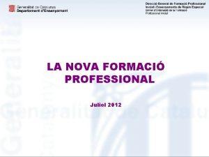 LA NOVA FORMACI PROFESSIONAL Juliol 2012 LA NOVA