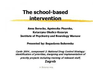 The schoolbased intervention Anna Borucka Agnieszka Pisarska Katarzyna