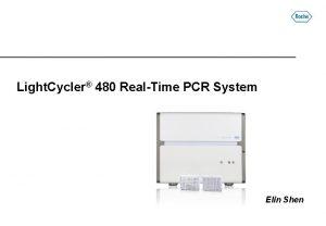 Light Cycler 480 RealTime PCR System Elin Shen