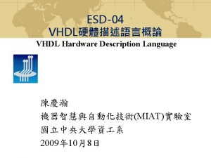 Introduction to VHDL Structure Model VHDL code Entity