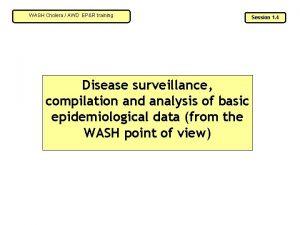 WASH Cholera AWD EPR training Disease surveillance compilation