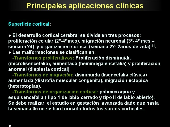 Principales aplicaciones clnicas Superficie cortical El desarrollo cortical