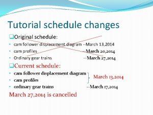 Tutorial schedule changes q Original schedule cam follower