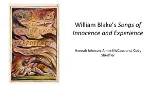 William Blakes Songs of Innocence and Experience Hannah