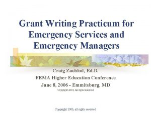 Grant Writing Practicum for Emergency Services and Emergency