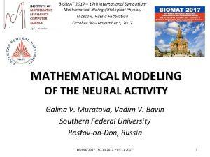 BIOMAT 2017 17 th International Symposium Mathematical BiologyBiological