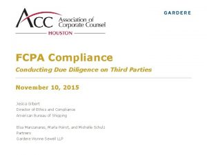 FCPA Compliance Conducting Due Diligence on Third Parties