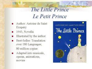 The Little Prince Le Petit Prince n n
