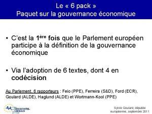Le 6 pack Paquet sur la gouvernance conomique