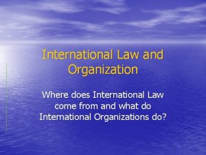 International Law and Organization Where does International Law