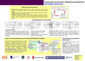 Preservation services for institutional repositories http preserv eprints