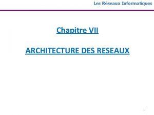 Les Rseaux Informatiques Chapitre VII ARCHITECTURE DES RESEAUX