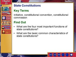 State Constitutions Key Terms initiative constitutional convention constitutional