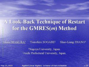 A LookBack Technique of Restart for the GMRESm