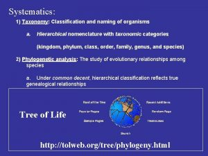Systematics 1 Taxonomy Classification and naming of organisms