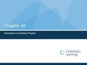 Chapter 40 Introduction to Quantum Physics Need for