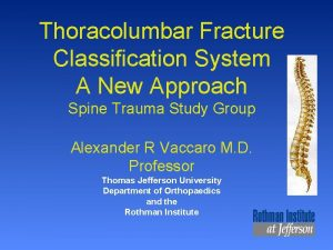 Thoracolumbar Fracture Classification System A New Approach Spine