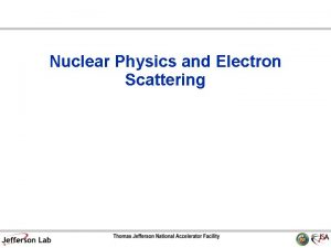 Nuclear Physics and Electron Scattering Nuclear Physics Strong
