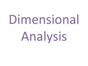 Dimensional Analysis Whats the Rule Whats the Rule