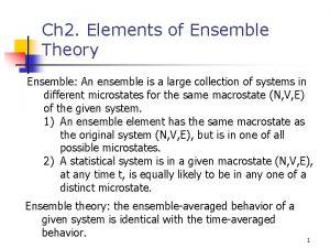 Ch 2 Elements of Ensemble Theory Ensemble An