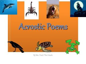 Acrostic Poems By Mrs Davis First Grade Panda