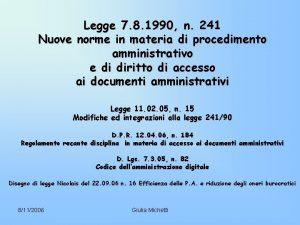 Legge 7 8 1990 n 241 Nuove norme