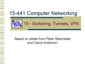 15 441 Computer Networking 15 Switching Tunnels VPN