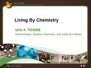Living By Chemistry Unit 4 TOXINS Stoichiometry Solution