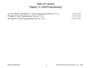 Table of Contents Chapter 11 Goal Programming A