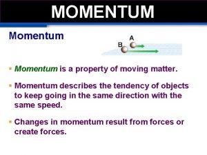 MOMEMTUM MOMENTUM Momentum Momentum is a property of